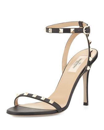 Rockstud Leather Ankle-Wrap Sandal, Black