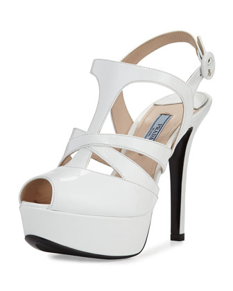 Crisscross Strappy Patent Sandal, White