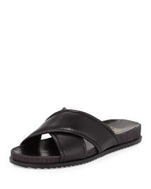 Spa Leather Crisscross Sandal, Black