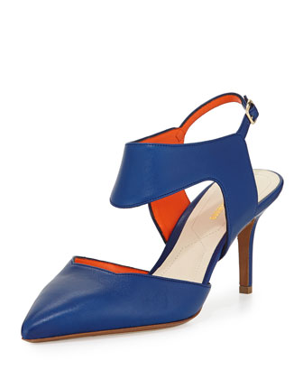 Leather Cutout Point-Toe Pump, Navy