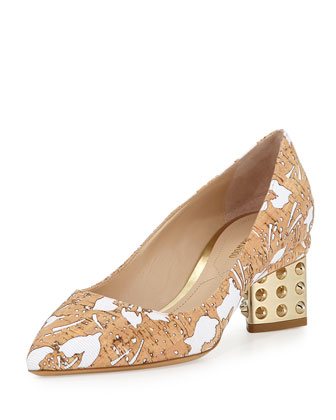 Floral Cutout Spiked Pump, Beige