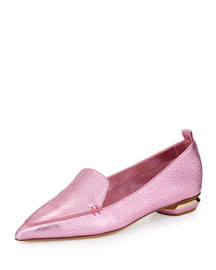 Metallic Point-Toe Loafer, Pink
