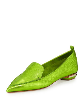 Metallic Point-Toe Loafer, Green