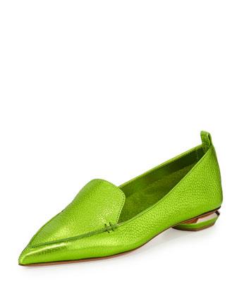 Metallic Point-Toe Loafer, Green