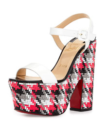 Bella Tige Woven Patent Platform Red Sole Sandal