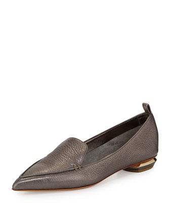 Metallic Point-Toe Loafer, Gray
