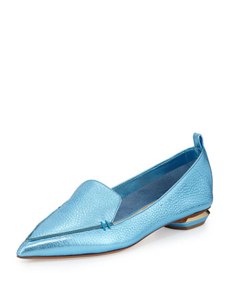 Metallic Point-Toe Loafer, Blue