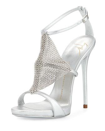 Metallic Crystal-Mesh Sandal, Silver