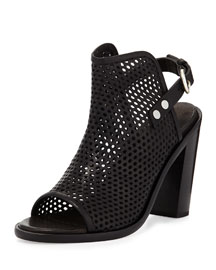 Wyatt Perforated Leather Bootie, Black