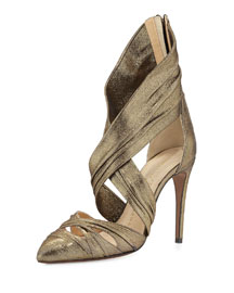 Theodora Metallic Wrap Pump, Gold