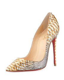 So Kate Python Red Sole Pump, Gold