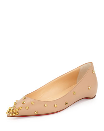 Degraspike Studded Point-Toe Red Sole Flat, Neutral