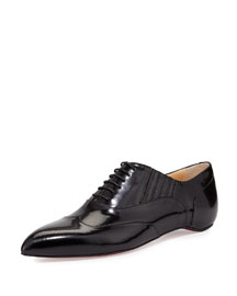 Polished Pointy-Toe Red Sole Oxford, Black