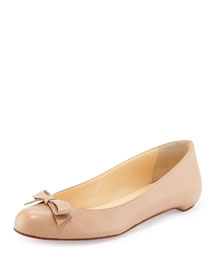Simplenodo Red-Sole Bow Flat, Nude