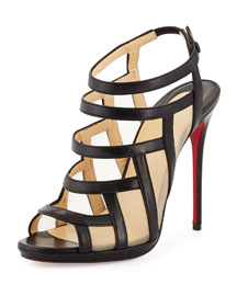Nicole Mesh-Inset Caged Red Sole Sandal, Black
