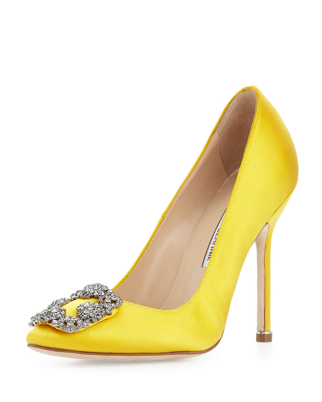 Manolo Blahnik Hangisi Satin Crystal-Toe Pump, Yellow, Women's, Size: 34.0B/4.0B