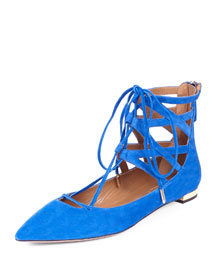 Belgravia Caged Suede Lace-Up Flat, Royal Blue