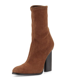 Gia Stretch-Suede Ankle Boot, Snuff