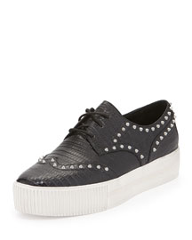 Krush Lizard-Embossed Studded Sneaker