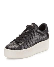 Cult Croc-Embossed Double-Platform Sneaker