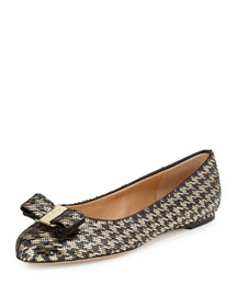 Varina Houndstooth Sequined Bow Ballet Flat