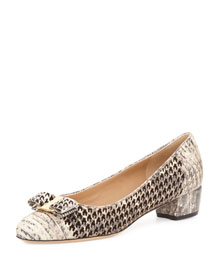 Vara Lizard-Print Bow Pump