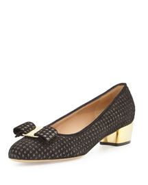 Vara Perforated Houndstooth Glitter Pump