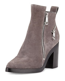 Zip-Detailed Suede Ankle Boot