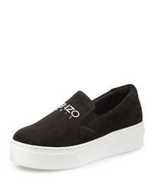 Platform Suede Skate Sneaker, Black