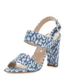 Kahn Leopard-Print Denim Double-Band Sandal