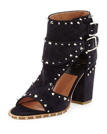 Deric Spiked Cutout Buckled Sandal, Dark Blue