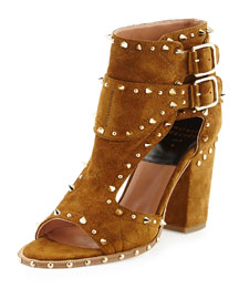 Deric Spiked Cutout Buckled Sandal, Camel