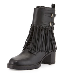 Leather Fringe Combat Boot, Black