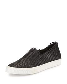 Mazzy Woven Leather Fringe Skate Shoe, Black