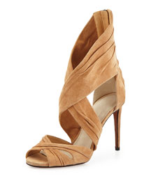 Hypathia Strappy Suede High-Back Sandal, Camel