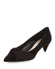 Bow-Detailed Suede Mid-Heel Pump, Black