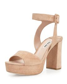 Suede Platform Mid-Heel Ankle-Wrap Sandal