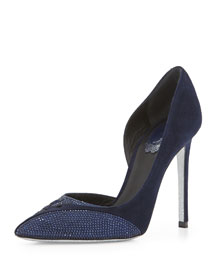 Crystal-Detailed Woven Cutout Half D'Orsay Pump