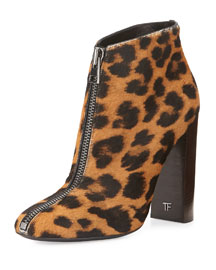 Front-Zip Leopard-Print Calf Hair Ankle Boot