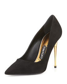 Suede Metal-Heel Point-Toe Pump, Black
