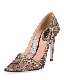 Floral Lace Crystal-Detailed Point-Toe Pump