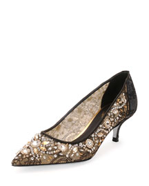 Crystal-Embellished Lace Pump