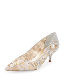 Lace Point-Toe Kitten Heel Pump