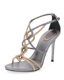 Two-Tone Jeweled Sandal