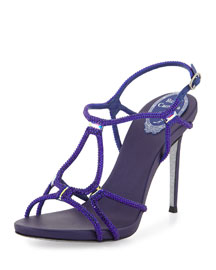 Strappy Crystal Satin Sandal, Blue