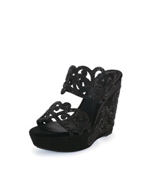 Wavy Crystal-Detailed Suede Wedge Sandal