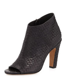Sierra-3 Snake-Embossed Open-Toe Bootie, Black