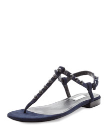 Studded Suede Thong Sandal, Blue