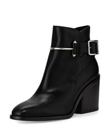 Smooth Leather Block-Heel Bootie