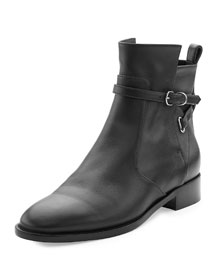 Ankle-Strap Flat Ankle Boot, Black